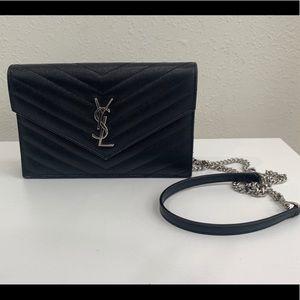 Saint Laurent Quilted Calfskin Wallet on Chain